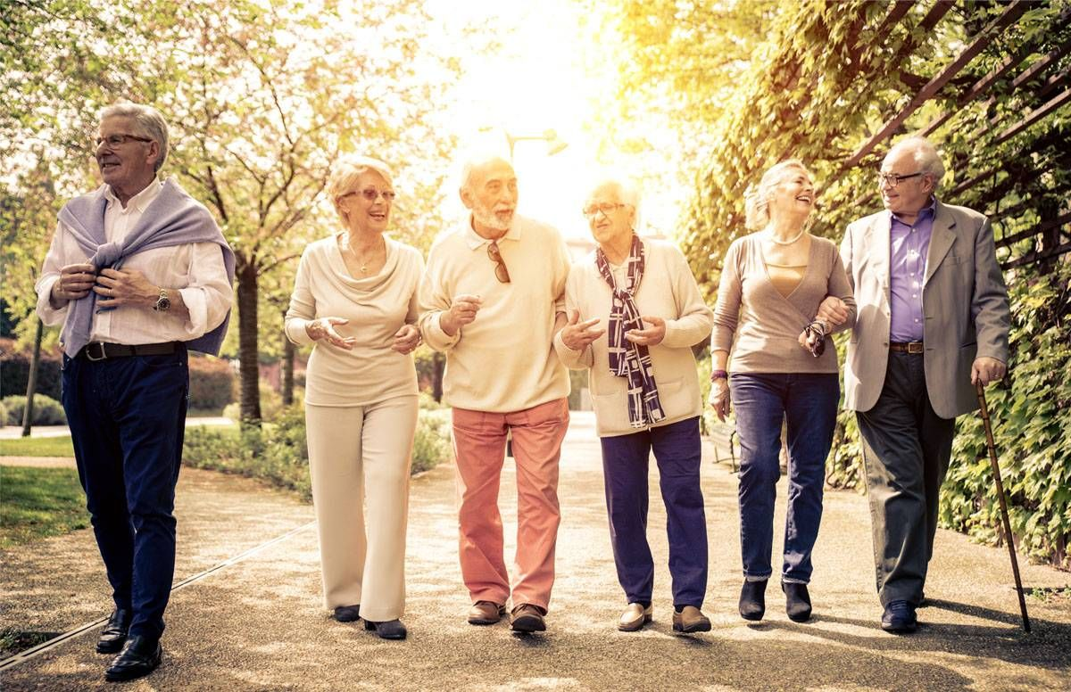 Older adults walking together in the sun