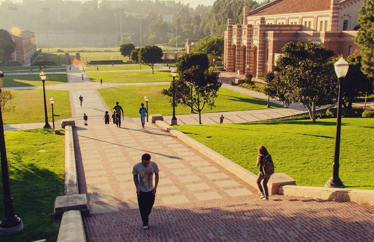 Students walking on the UCLA campus in Los Angeles, Calif.