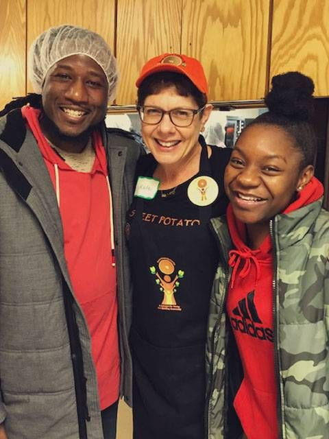 Volunteers with Sweet Potato Comfort Pie baking pies at Calvary Lutheran Church in Golden Valley. From left, Toki Wright, Kate Towle and Nesani Sabal