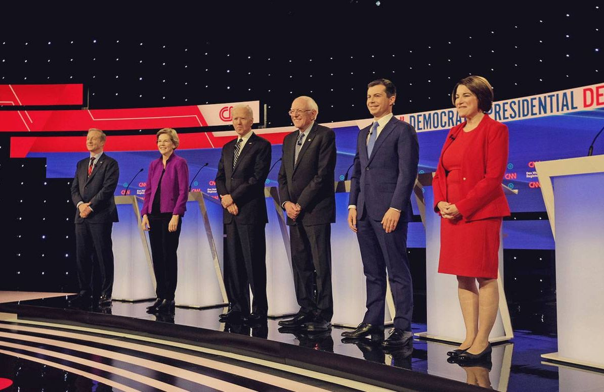 candidates take the stage during the January 14, 2020 Democratic Debate
