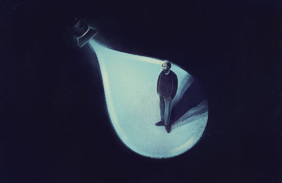 an illustration of a man standing in darkness