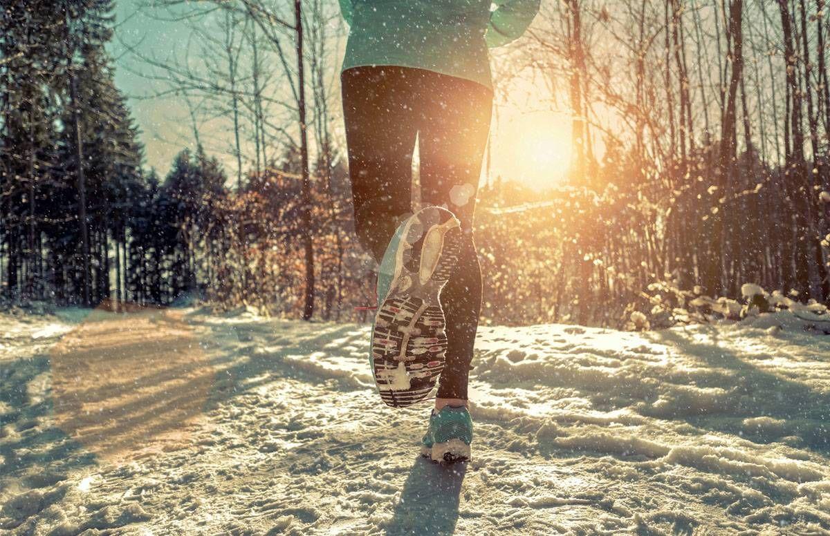 a run in the winter sun