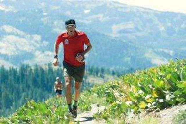 Chris Hauth goes for a run in the mountains above Lake Tahoe.