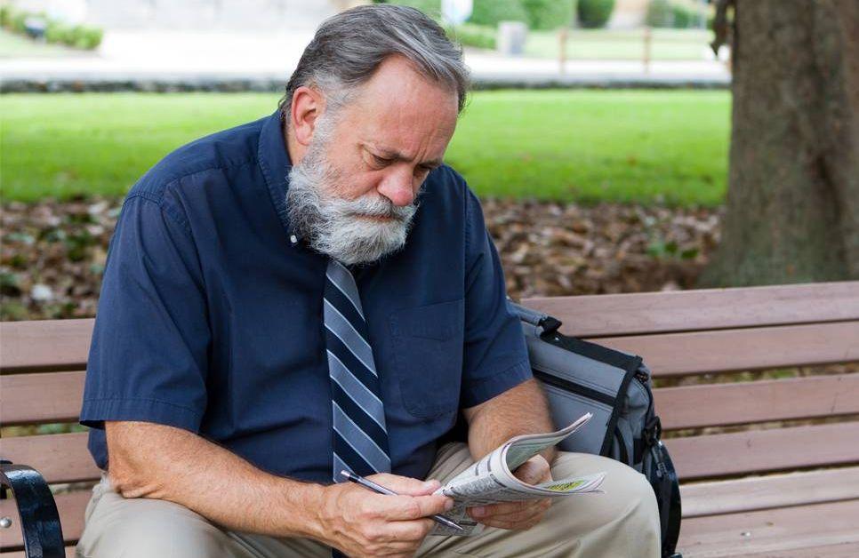 Older man on bench