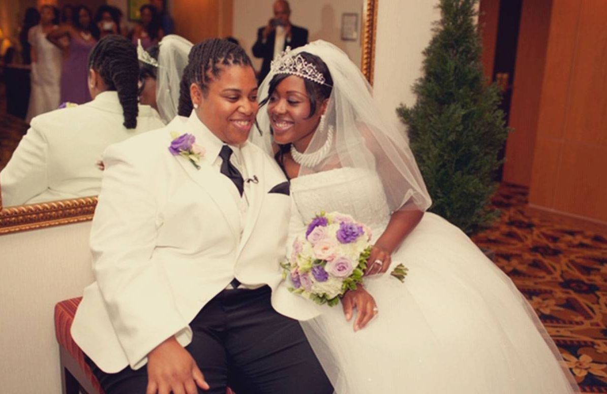 LaFawn (left) and Keisha Williams on their wedding day