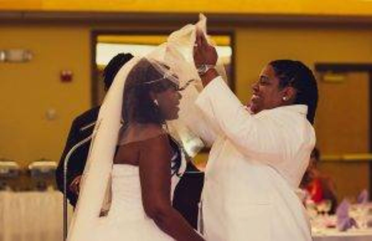 Lafawn and Keisha Williams on their wedding day