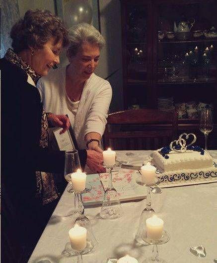 Carol Riddell and Debbie Joffe, on their wedding day