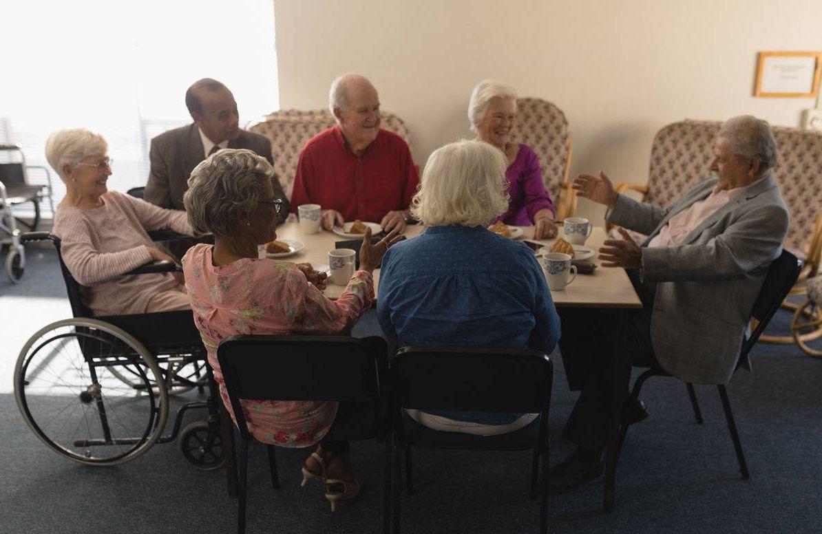 Seniors at a nursing home
