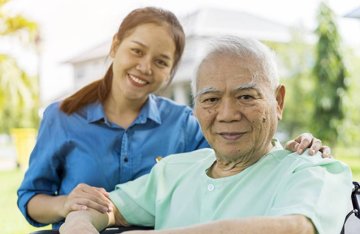 Caregiver and older relative.