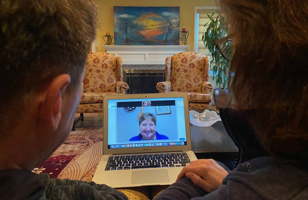 """Rich and Kirsten Meneghello on a recent Zoom call with Rich's mother, Margaret """"Marge"""" Meneghello"""