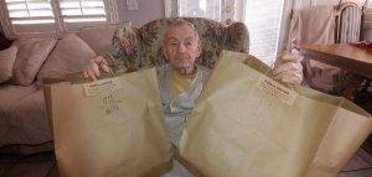 """""""Here is my husband with one fourth of food we received from Honey Salt."""" — Nevada Senior Services community member"""