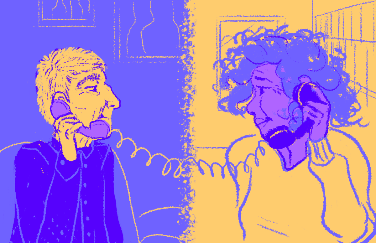 an illustration of two people speaking on the phone