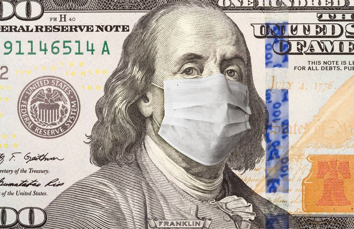 Ben Franklin on $100 bill wearing a mask