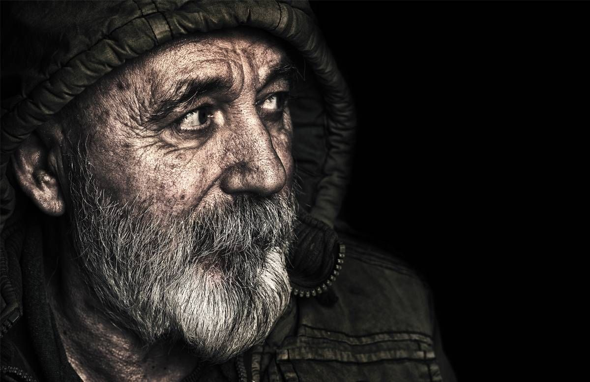 Portrait of a homeless man.
