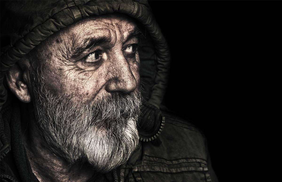 Portrait of a homeless man.
