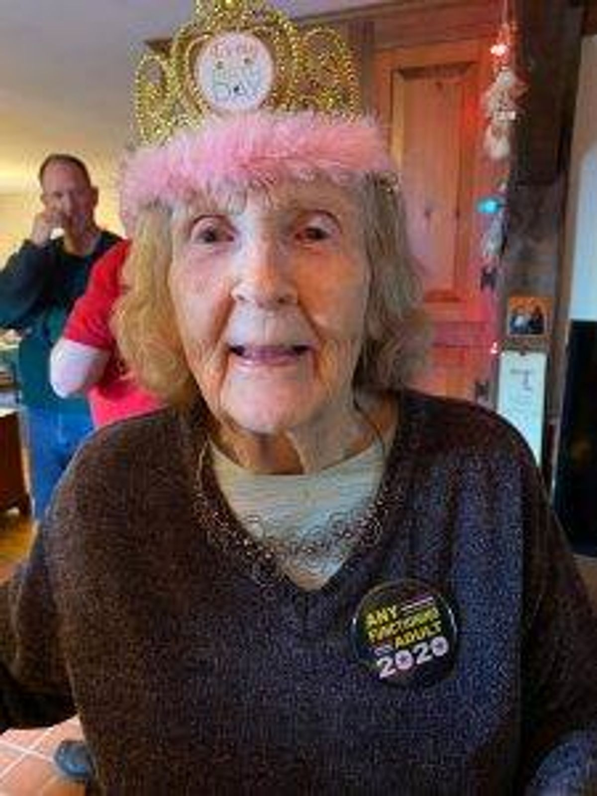 Ann Eno on her 90th birthday at home