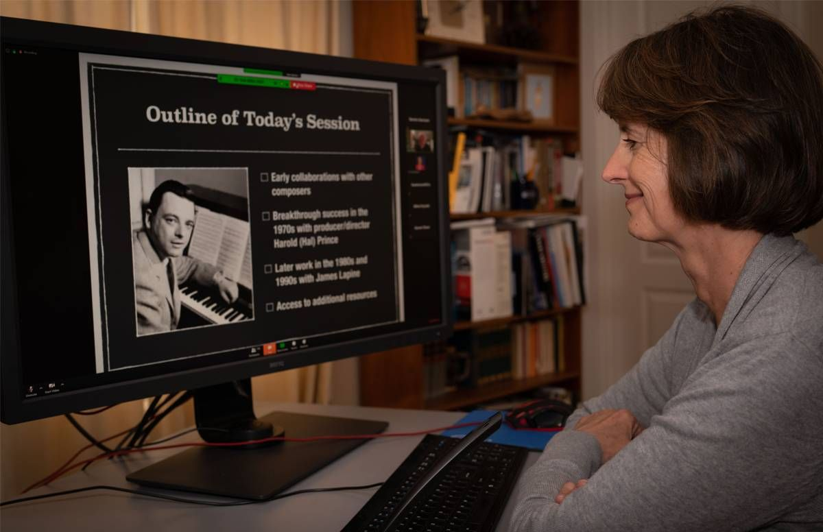 Kate Szerszen watches Alan Teasley's online OLLI class about Stephen Sondheim