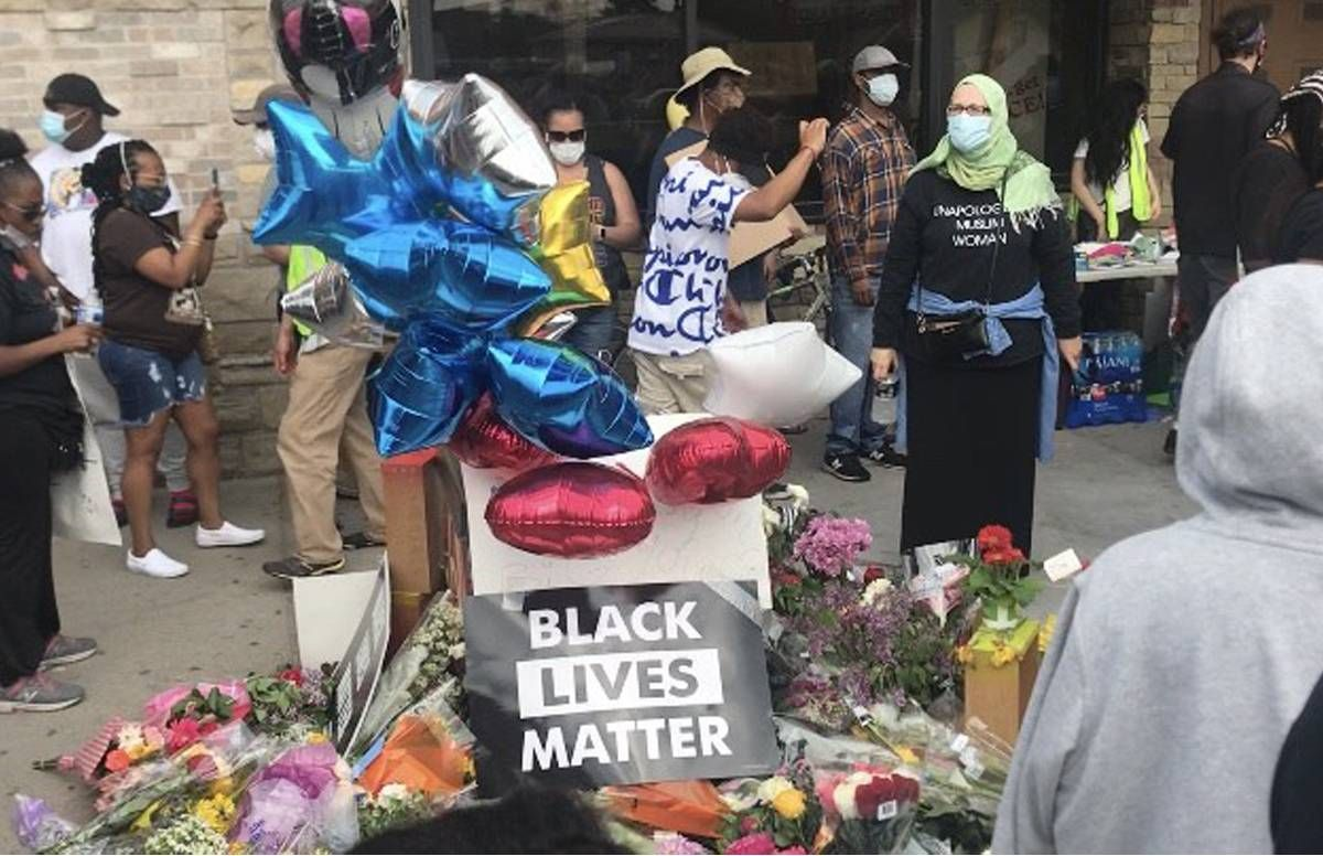 Vigil in Minneapolis near the site where George Floyd was killed