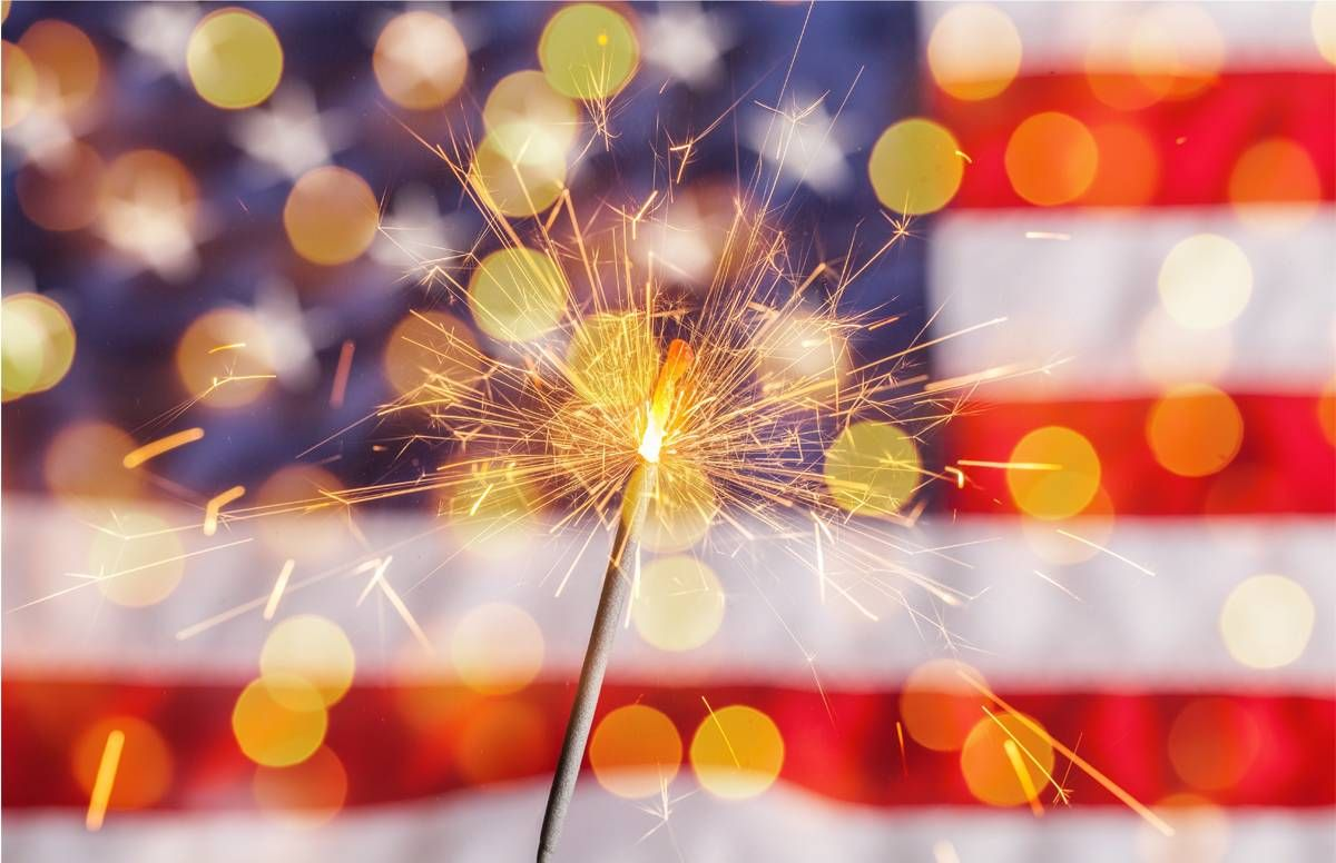 flag and sparkler