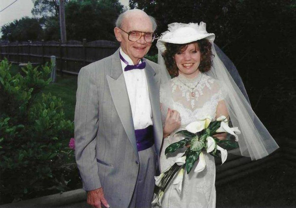 Kelly and her father Jack on her wedding day