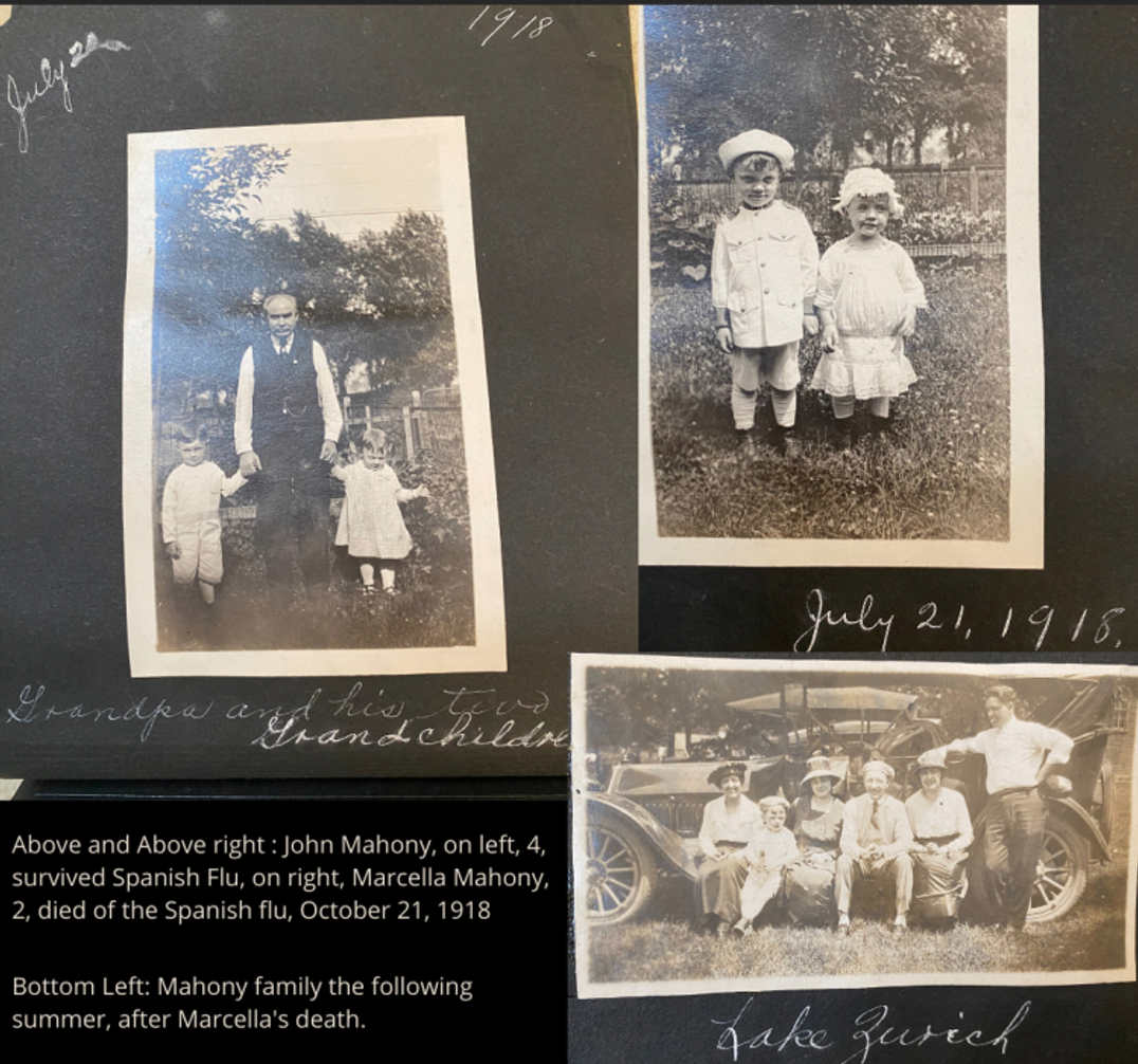 Old-time photo album with family photos of Kelly's father as a child
