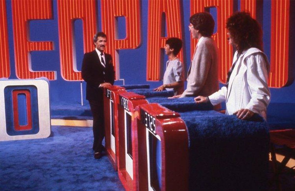 Alex Trebek, hosting Jeopardy, in his first season (1984-85)