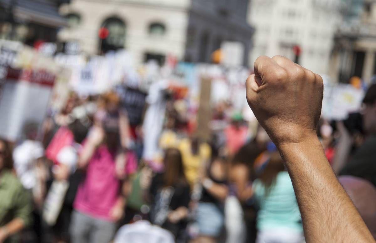 raised protest fist