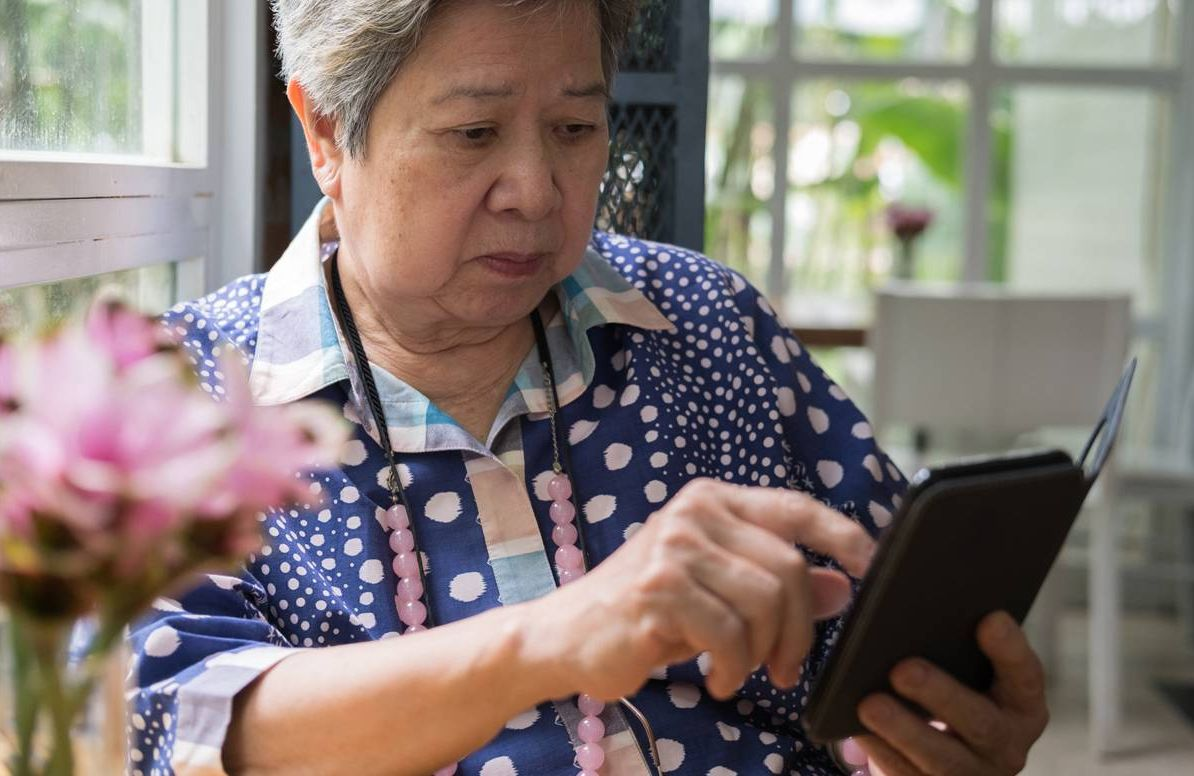 Woman using personal finance app