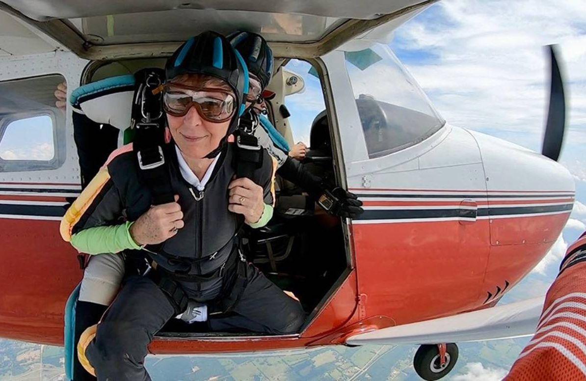 Carol Johansen, jumping from a plane