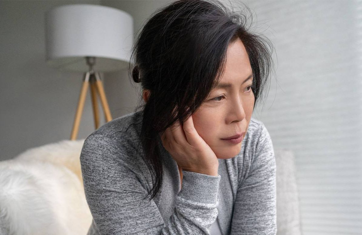 woman looking depressed