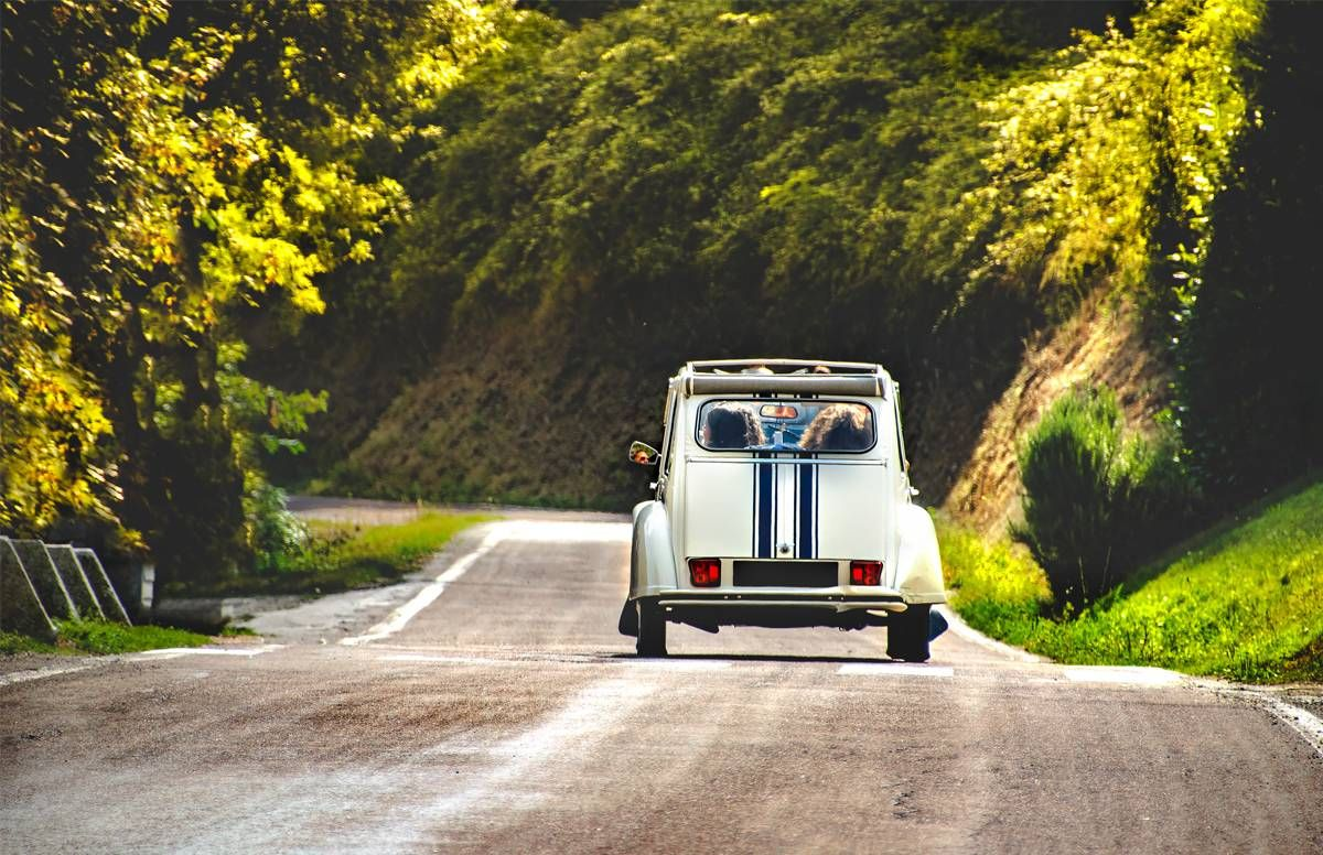 old fashioned car on country roads