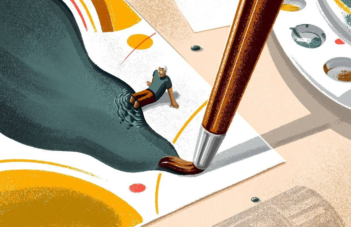 abstract illustration of a small man sitting next to a giant paint palette
