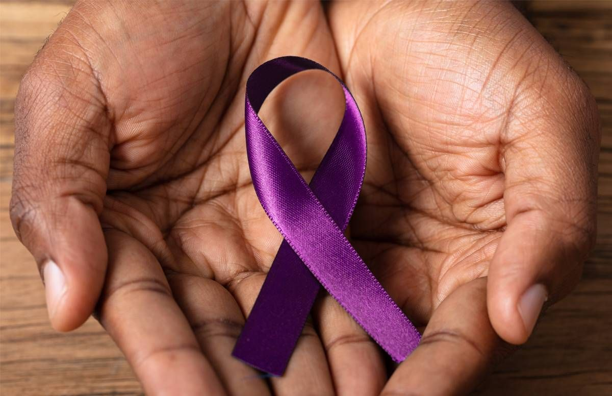 Purple Alzheimer's awareness ribbon