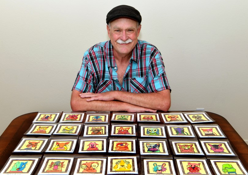 Artist Ed Attanasio and a collection of his pet portraits