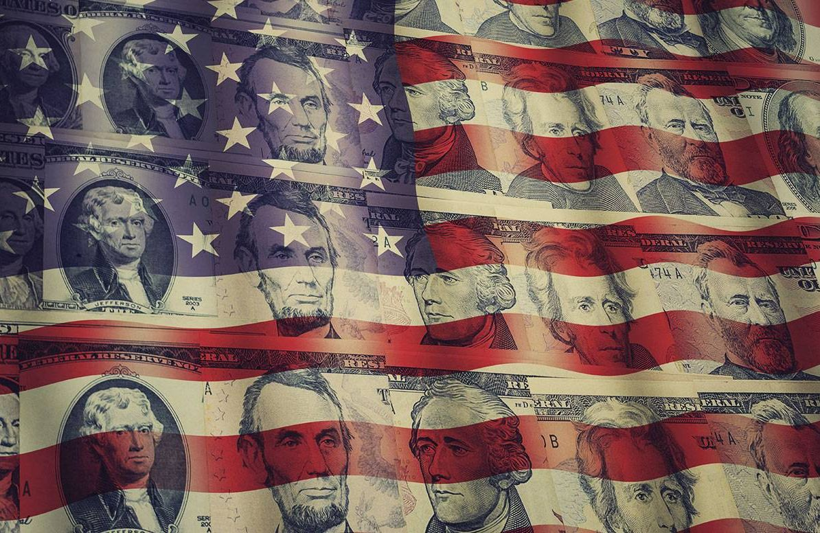 a collage of the american flag with presidents from dollar bills