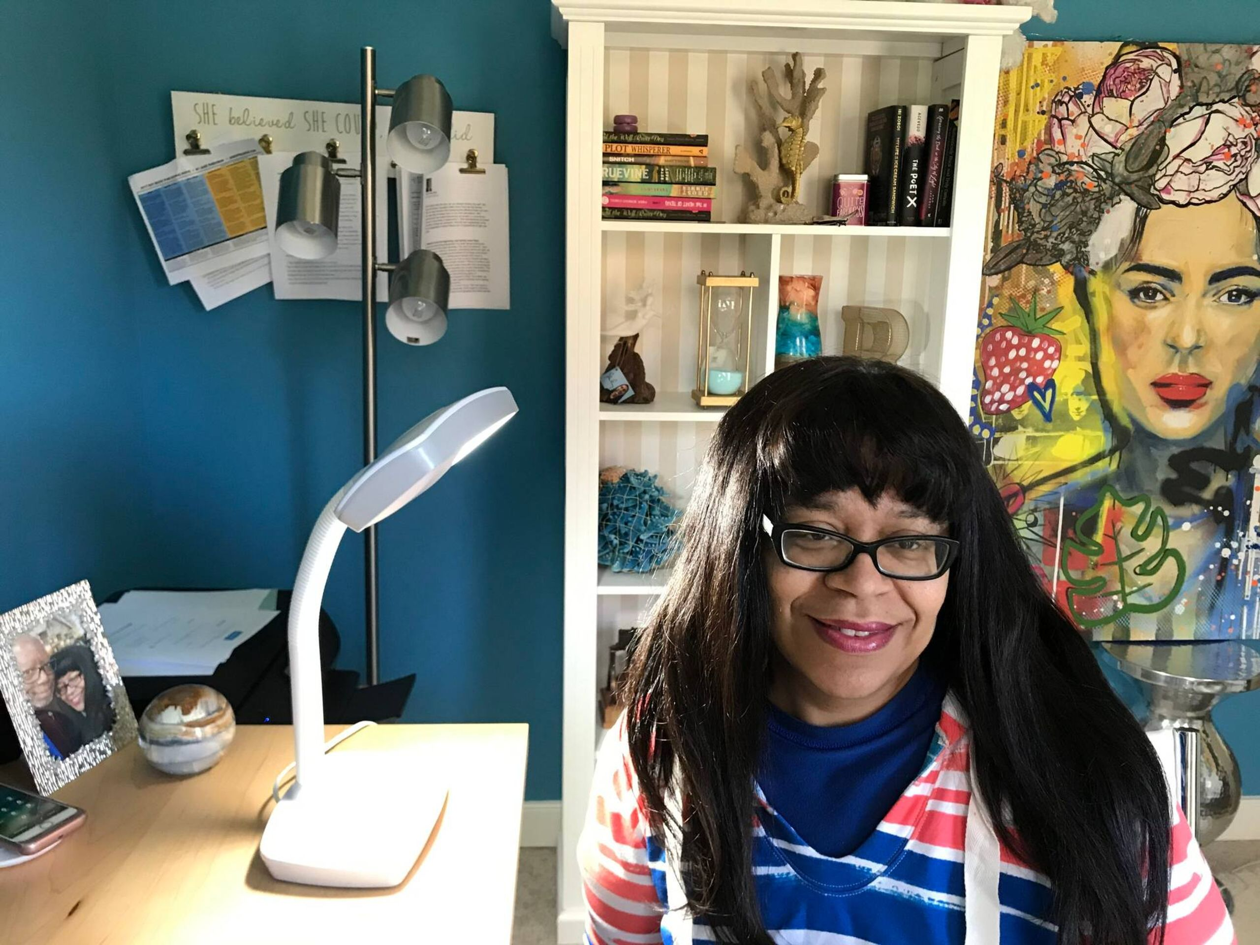 "Robin Farmer at home in Mechanicsville, Va., with her ""Happy Light"" therapy lamp, Next Avenue, SAD, winter"