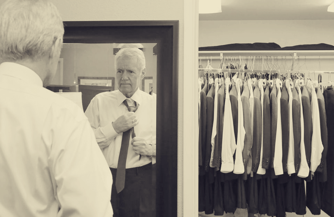 "Alex Trebek backstage at ""Jeopardy!"" He has 100 suits in rotation."