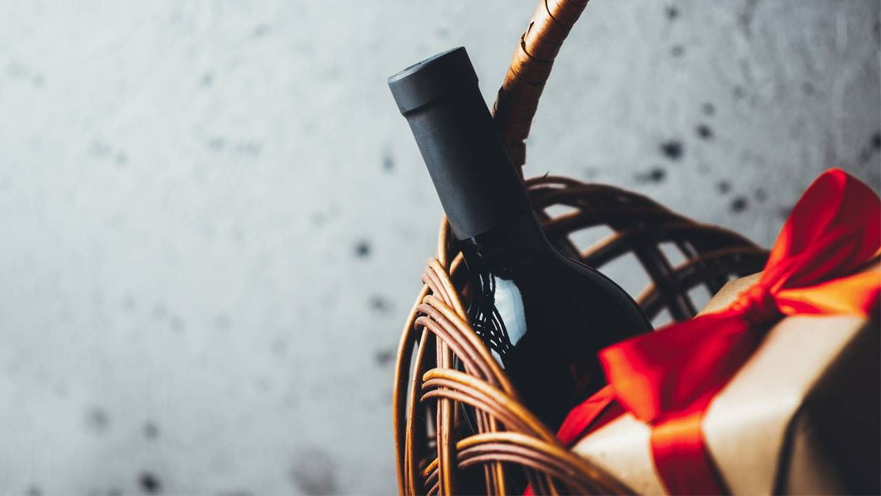 wine in a basket, next avenue, holiday meal