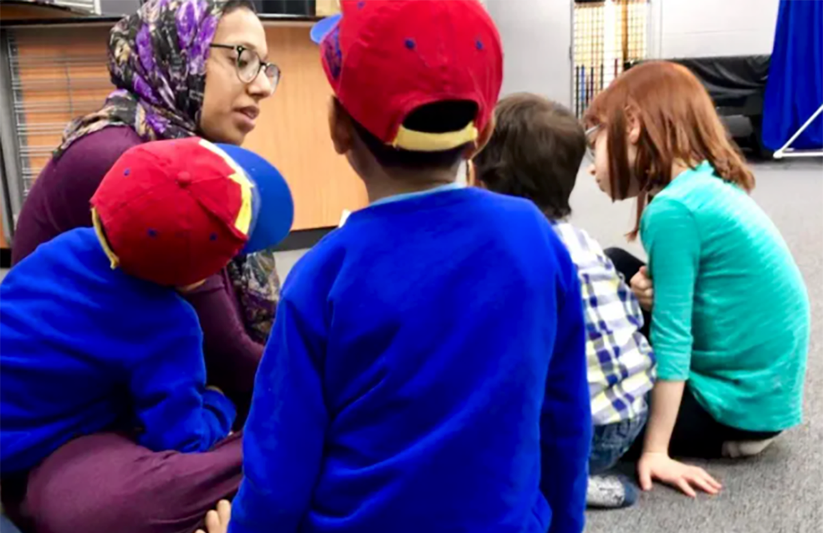Farhana Quayoum with two of her kids and other children at the Islamic Organization of North America in Warren, Detroit Bangladeshis, Next Avenue