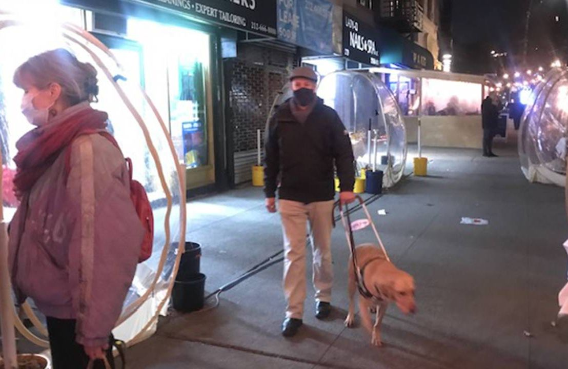 Blind man walking with his guide dog on a city sidewalk, blind, next avenue