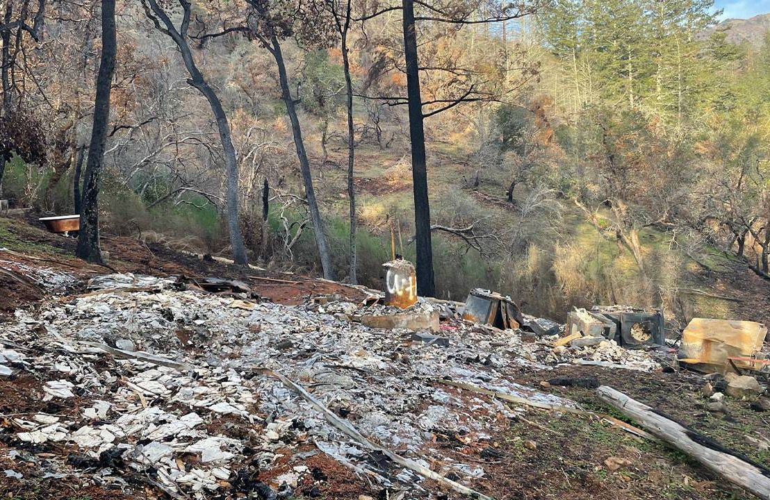 Remains of Jay Gamel's California home after the Glass Fire, Next Avenue, climate change, retirement bubbles