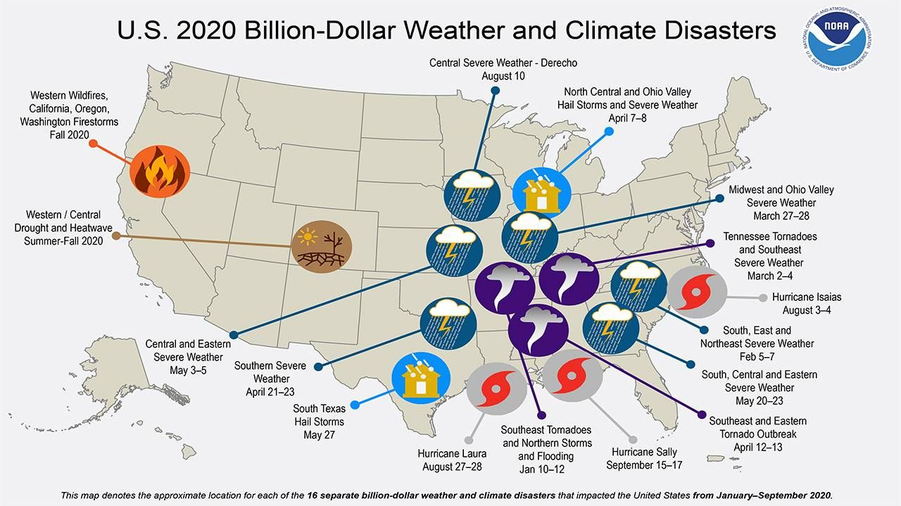 Map of billion dollar weather and climate disasters in the U.S. in 2020, climate change, next avenue, retirement bubbles, 2020