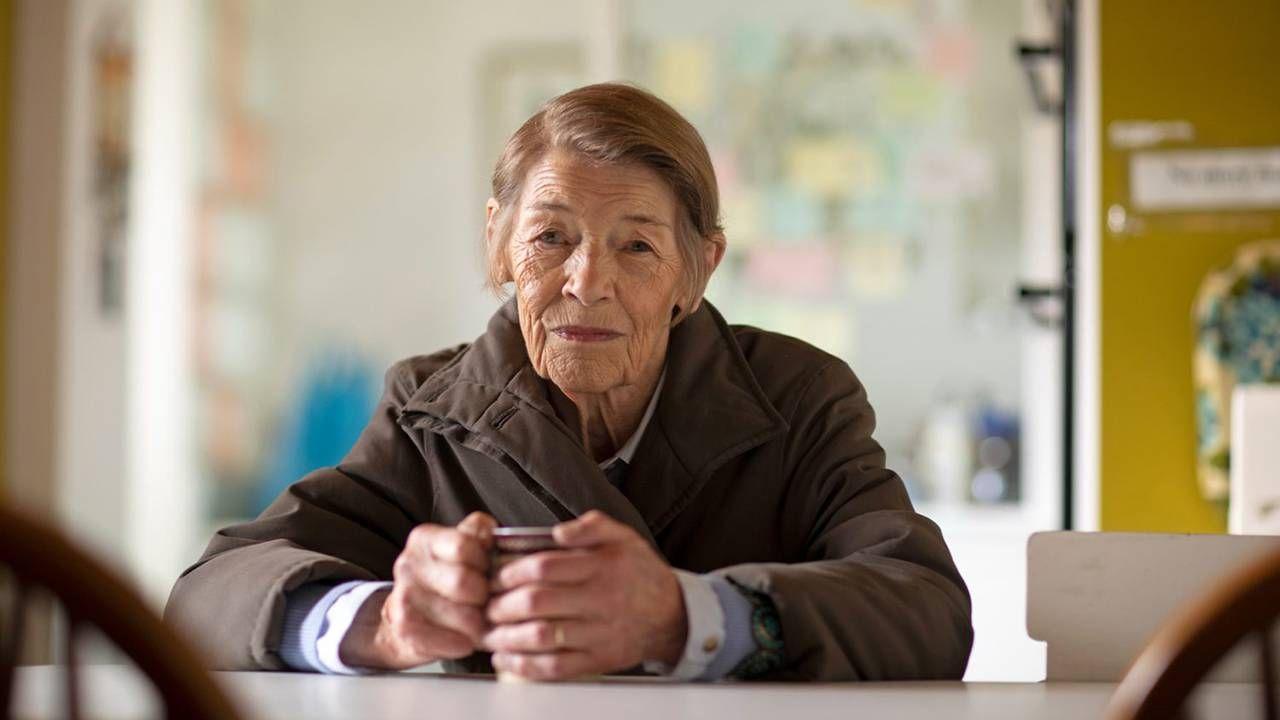 Still from PBS film 'Elizabeth is Missing' older woman sitting down holding mug, films, dementia, Next Avenue