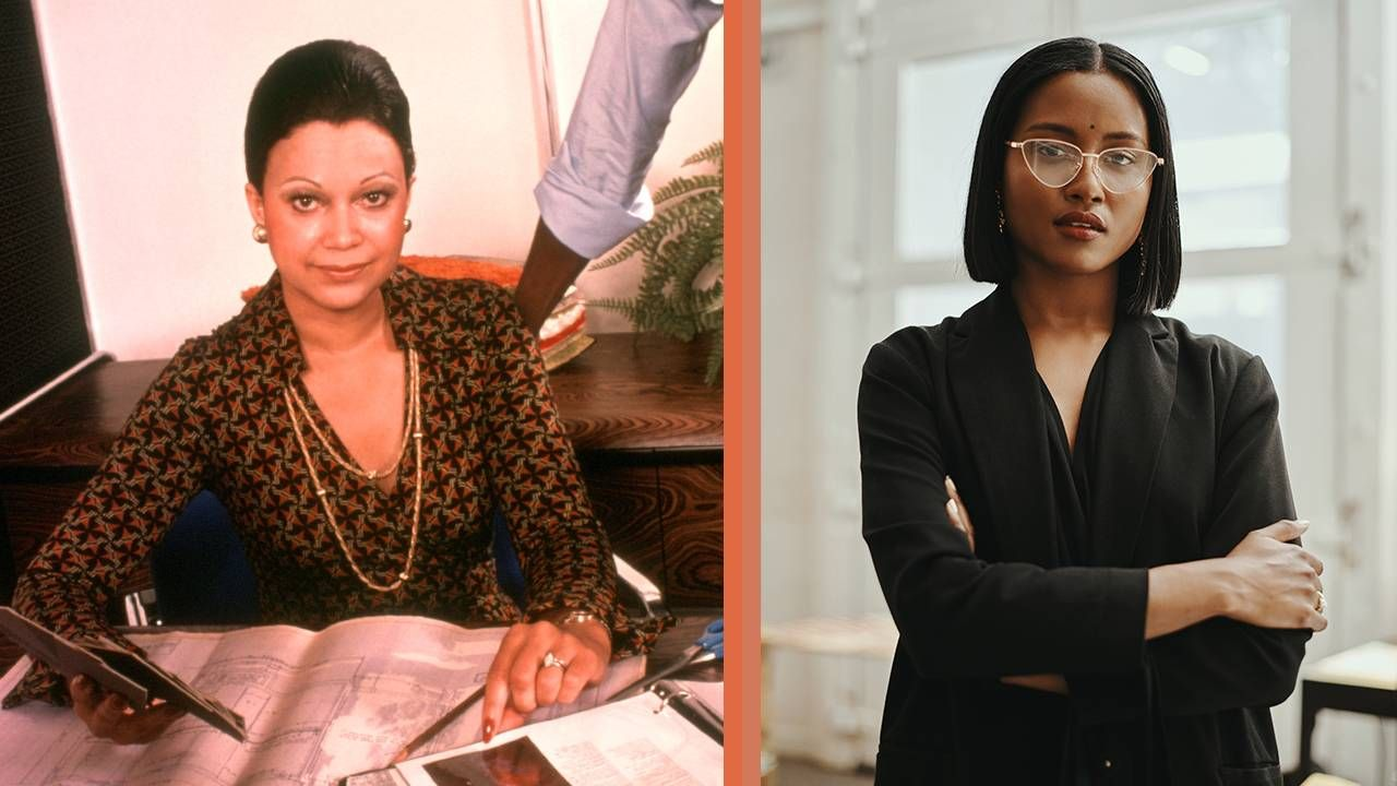 Side-by-side images of an executive woman in the 80s and a millennial executive, businesswoman, working mom, Next Avenue