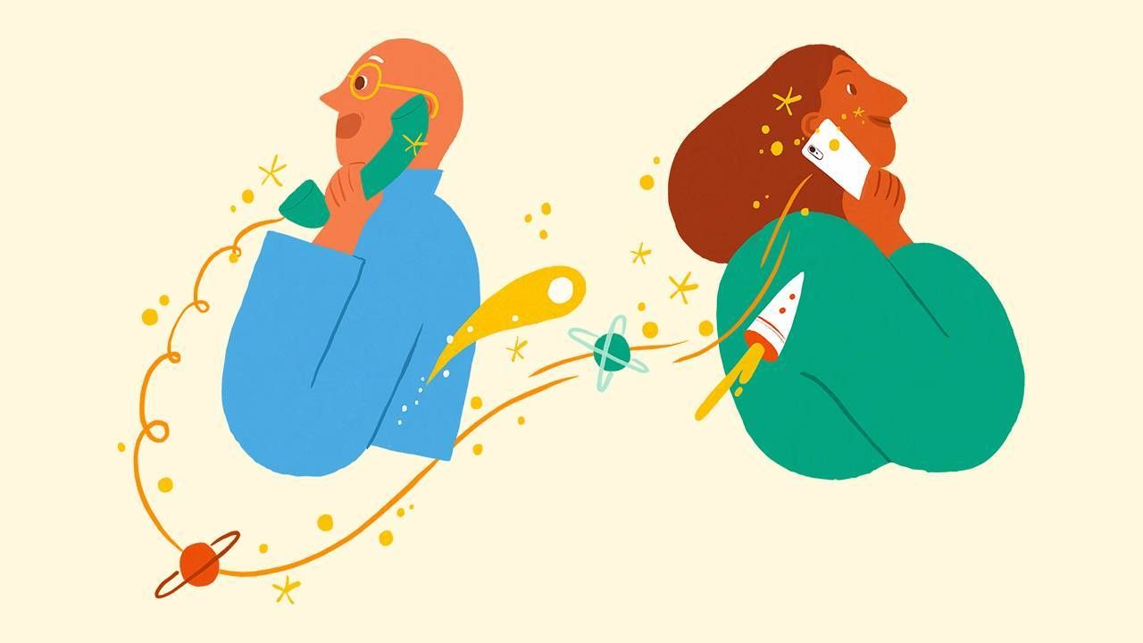 Illustration of two people talking on the phone, conversation, social isolation, Next Avenue