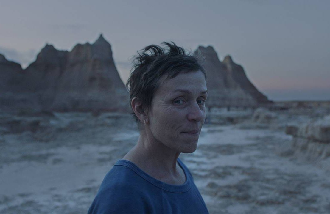 Still from Nomadland film of Frances McDormand in the Badlands, Next Avenue