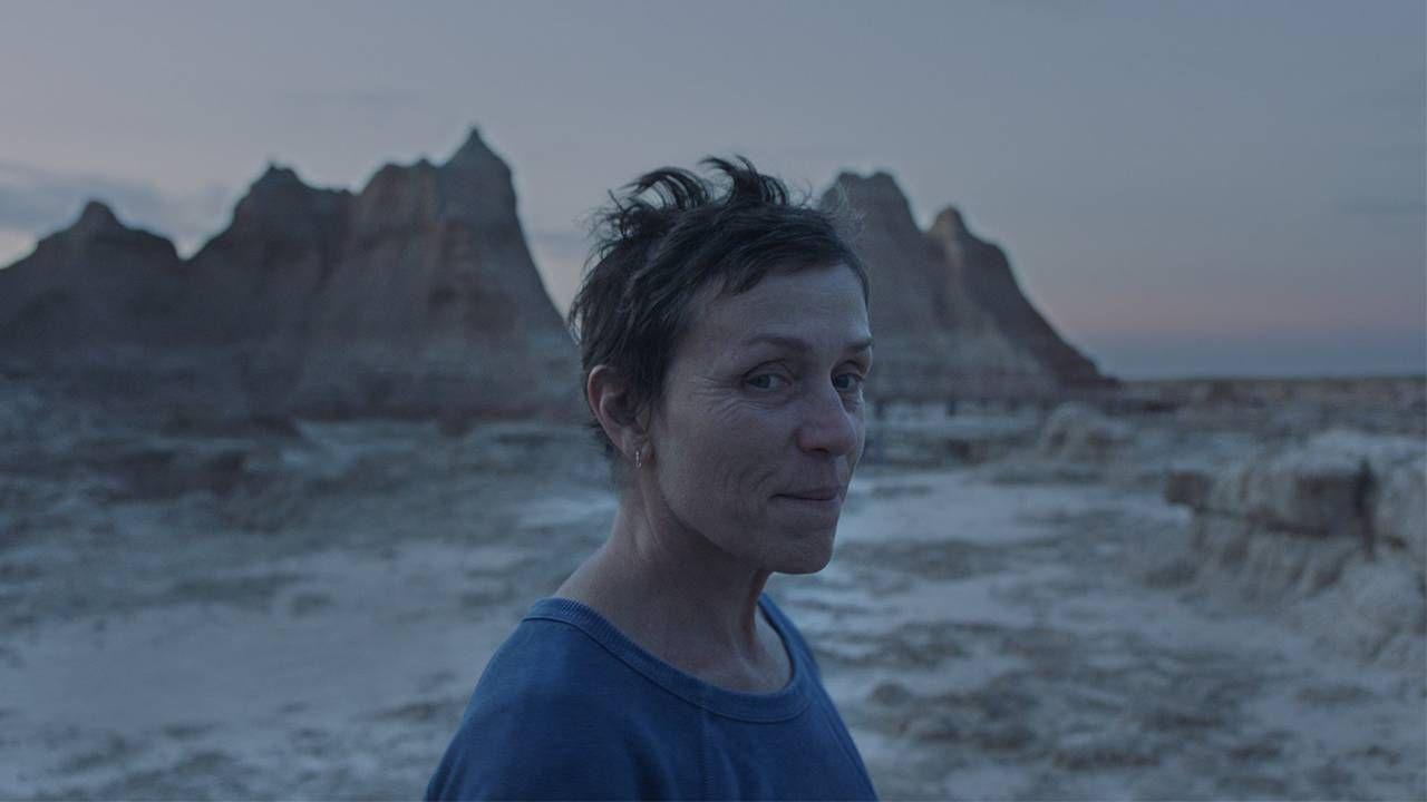 Still from Nomadland film of Frances McDormand in the Badlands, Next Avenue