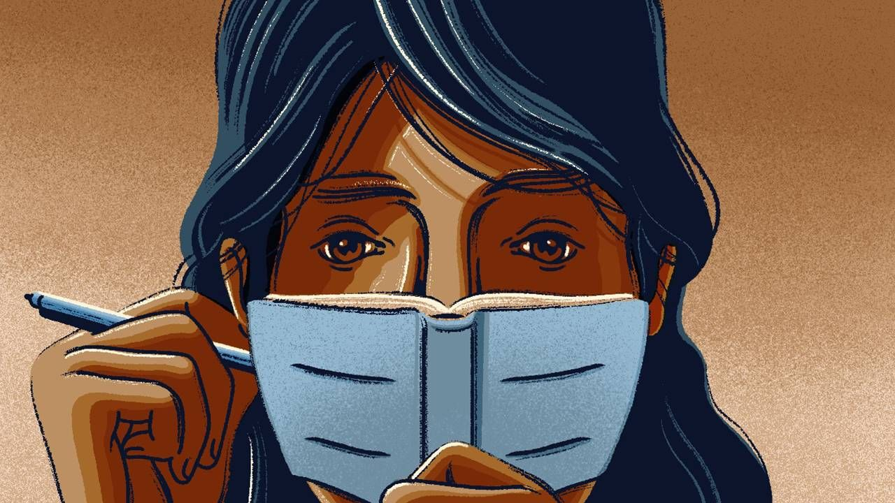 Illustration of a woman holding a pen and journaling, reflections, essay, pandemic, Next Avenue