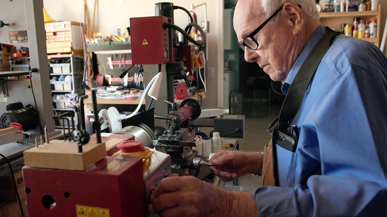 Toy inventor in workshop, documentary, Next Avenue