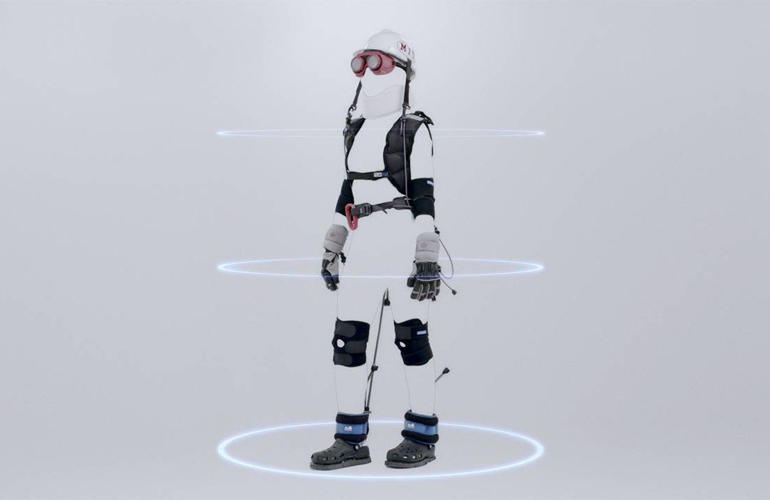 The MIT AgeLab's AGNES aging suit, designed to help younger users walk in the shoes of an older person.